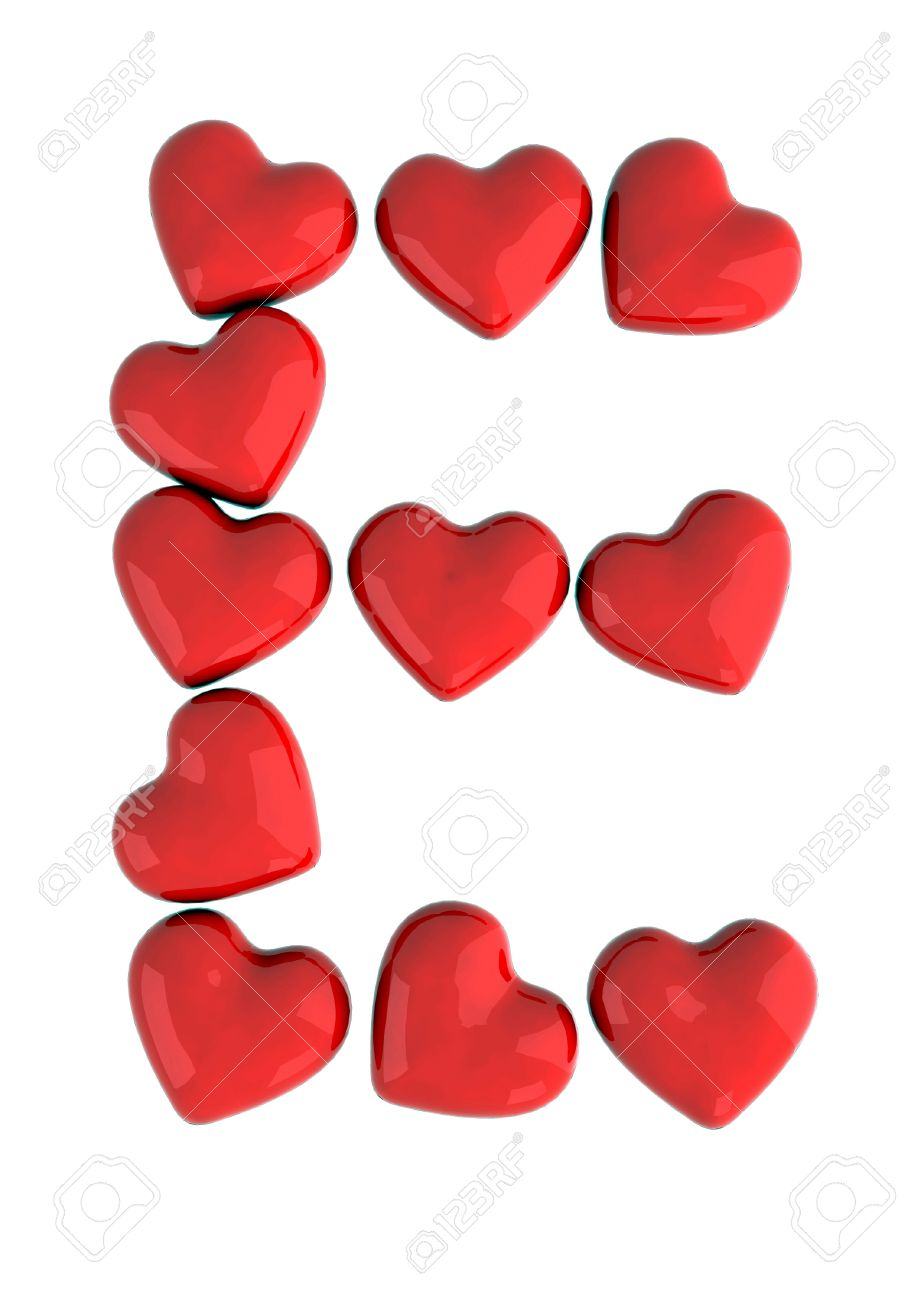 Letter E With Red Hearts Stock Photo   9740696