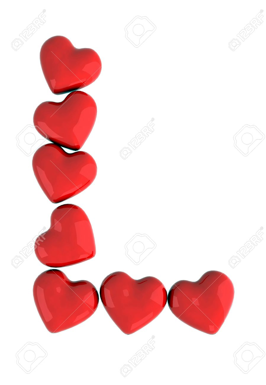 Letter L With Red Hearts Stock Photo, Picture And Royalty Free