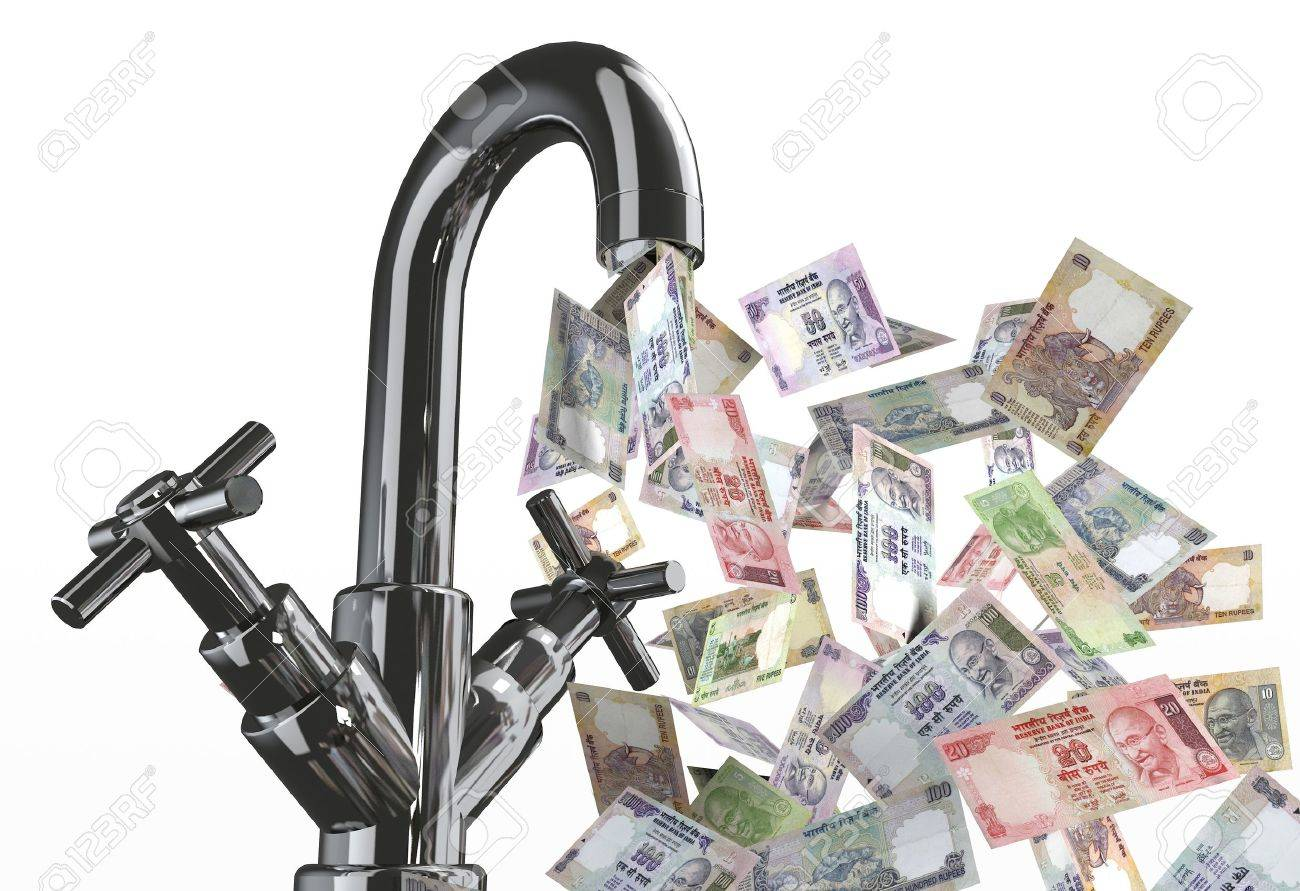 tap water with rupee banknotes 3d illustration Stock Illustration - 9739790