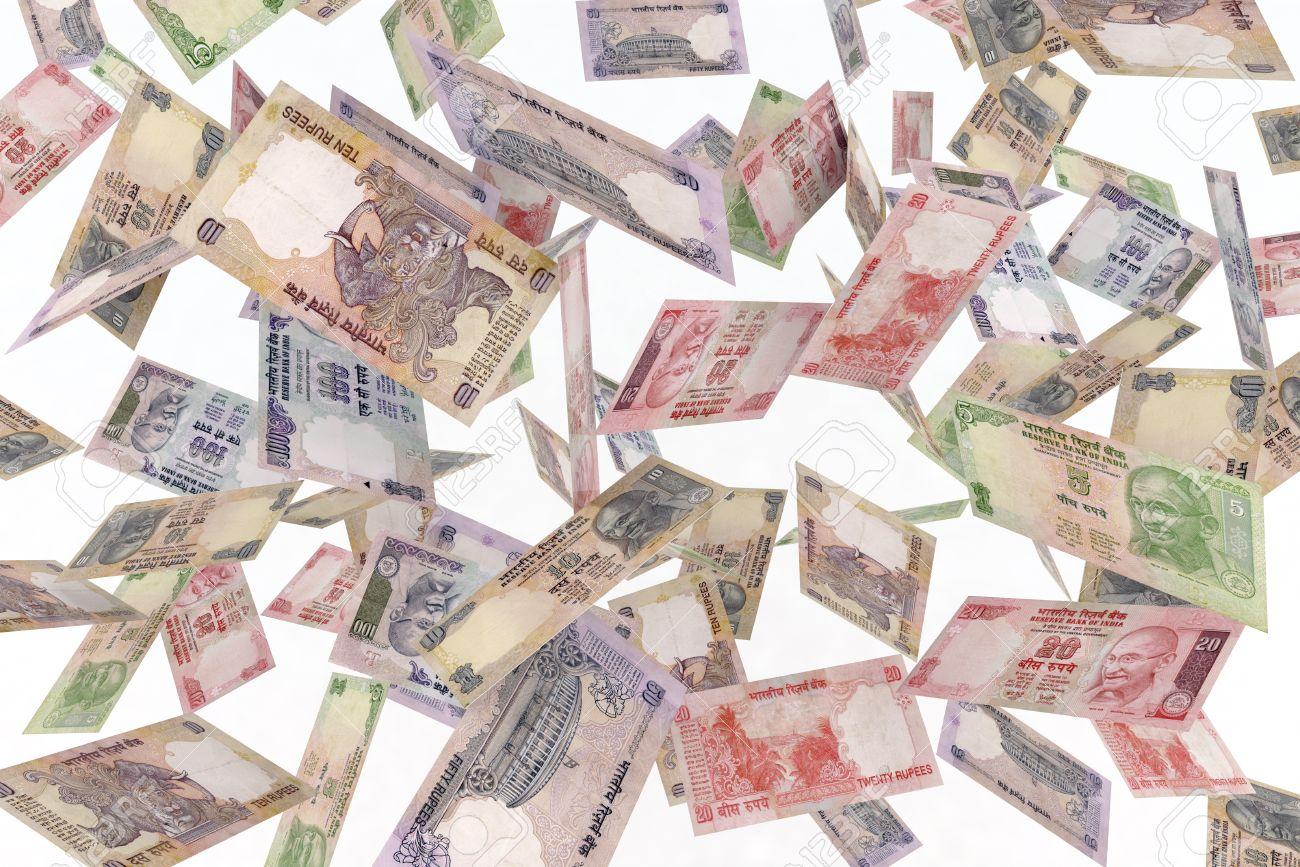 falling banknotes rupee rain 3d illustration Stock Illustration - 9739798