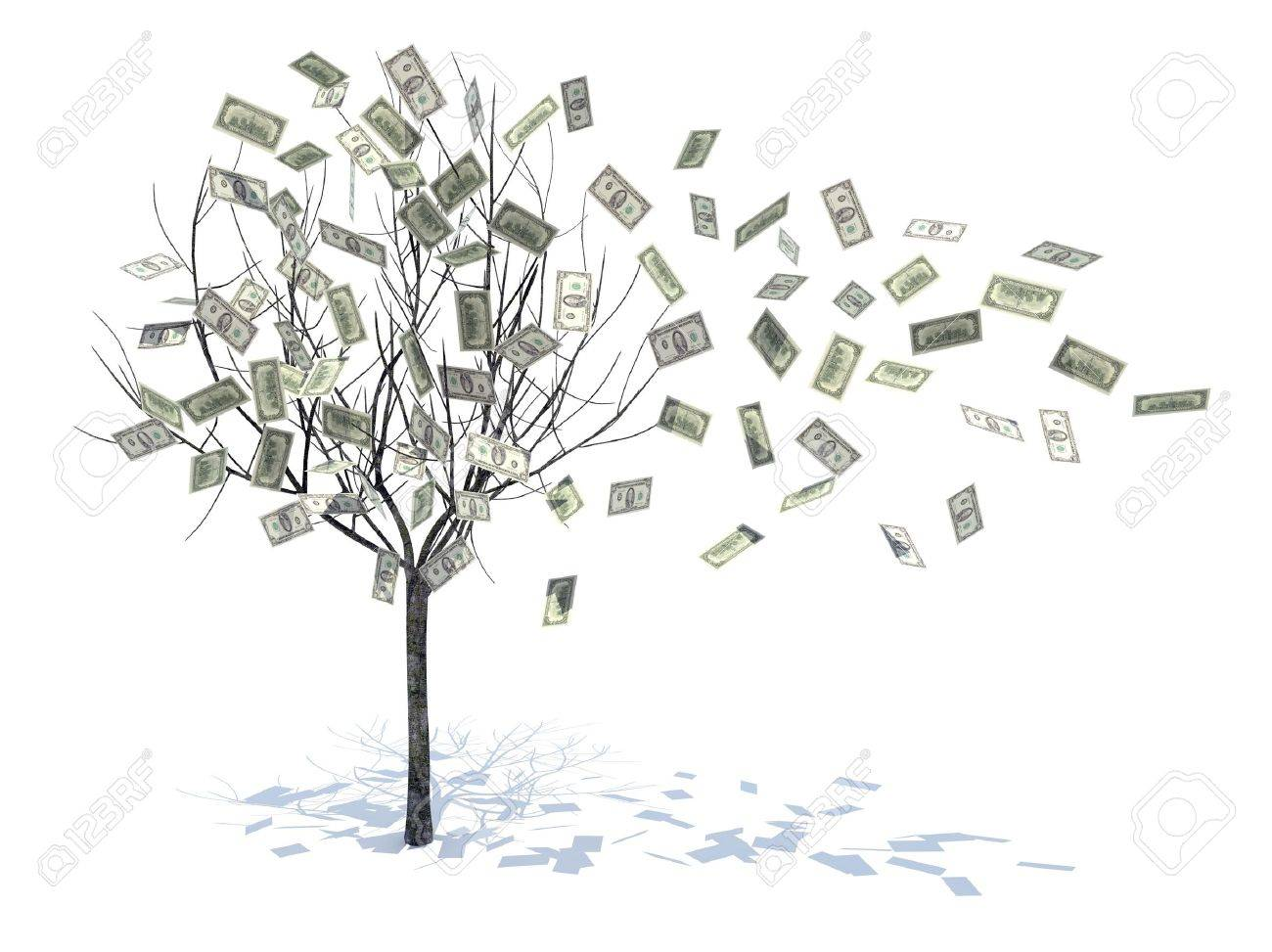 tree with leaves falling notes 3d illustration Stock Illustration - 9856805