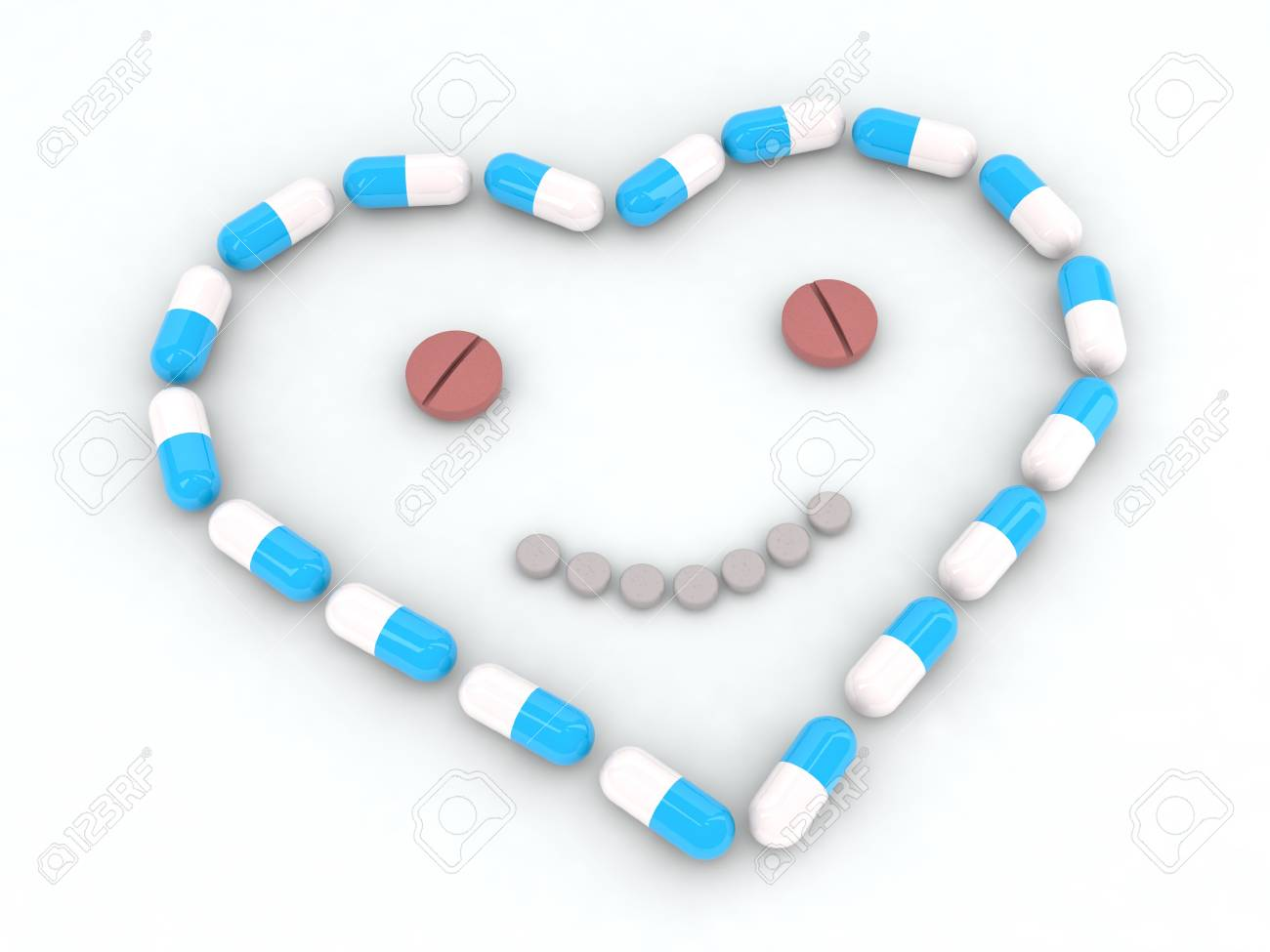 heart and face made with pills 3d illustration Stock Photo - 11087441