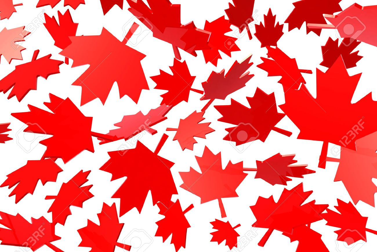 Canadian Maple Leafs Autumn Leaves Flag Symbol 3d Illustration