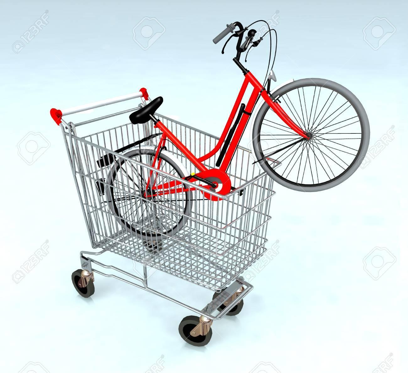 Panier Avec Vélo à L\'intérieur, Le Concept De E-commerce Banque D ...