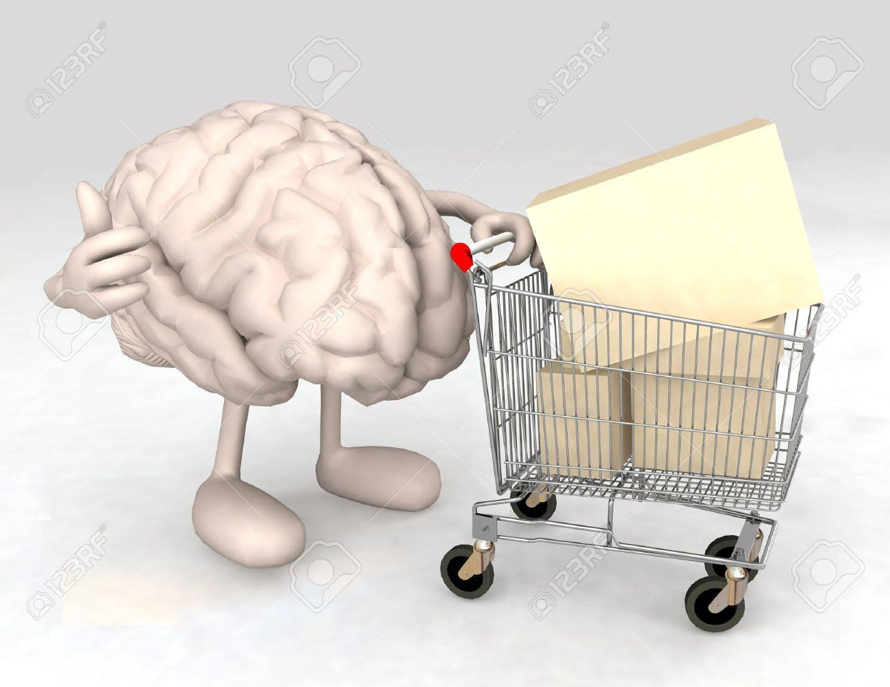 human brain with a shopping cart full of products that makes the gesture of ok Stock Photo - 15817071