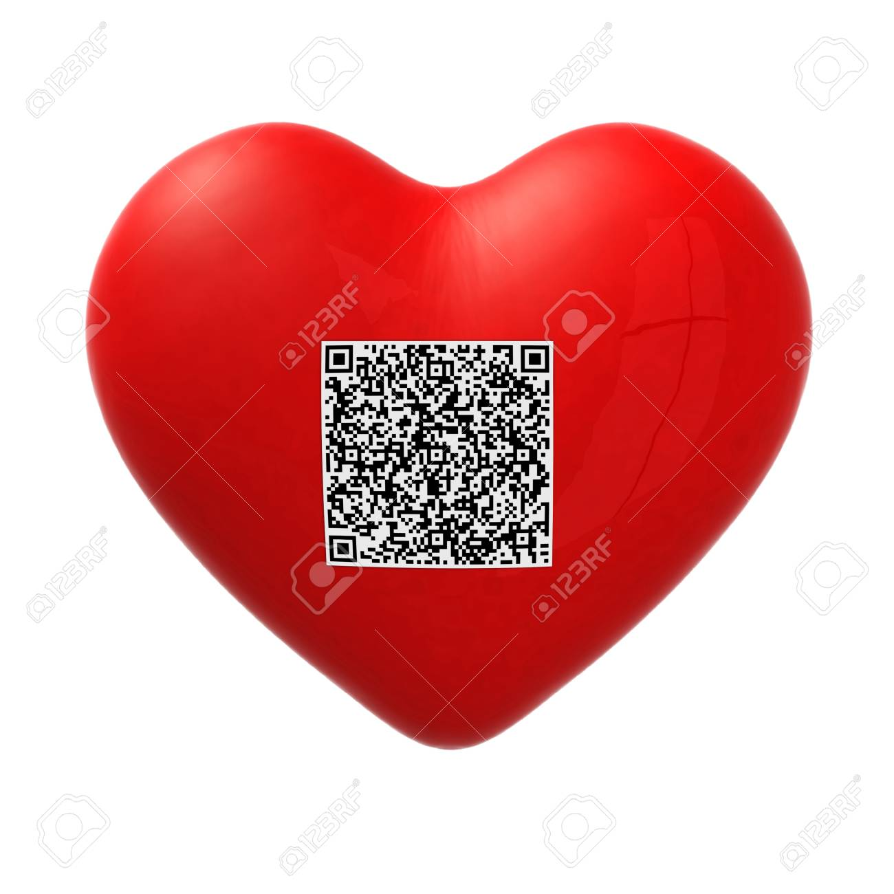 red heart with qr code, 3d illustration Stock Photo - 15817156