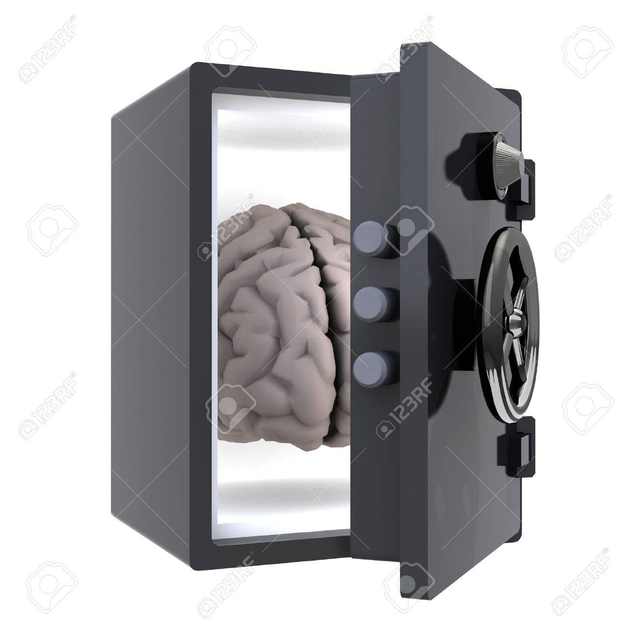 brain protected in a safe, 3d illustration Stock Illustration - 16832498