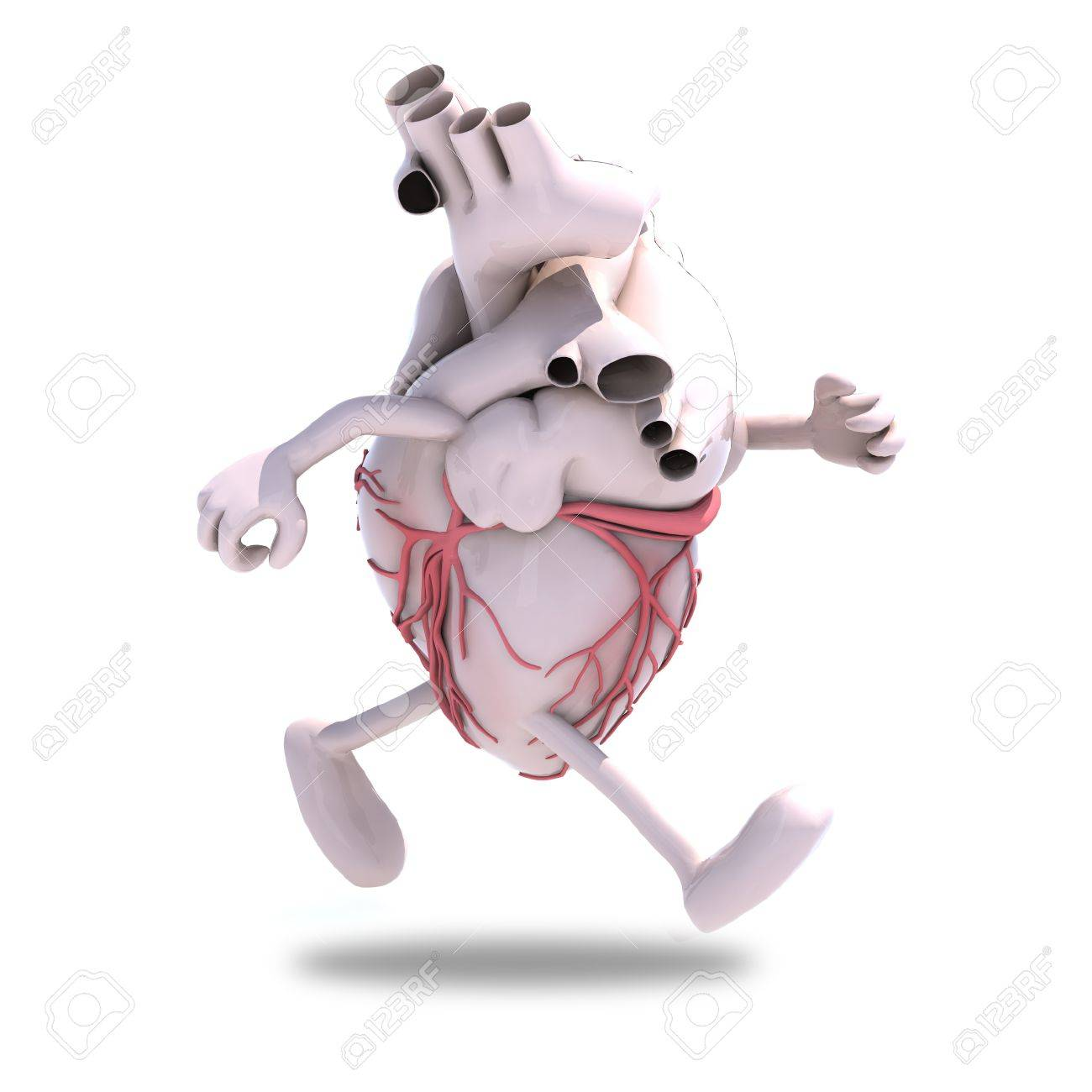 human heart with arms and legs running, 3d illustration Stock Illustration - 16903729