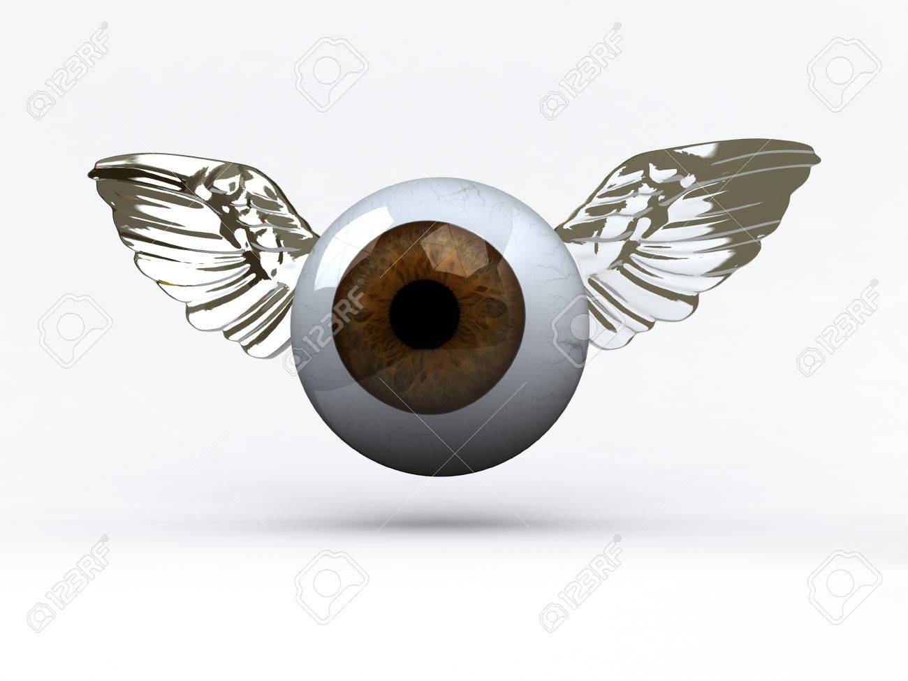 eye with wings that fly, 3d illustration Stock Photo - 16903839
