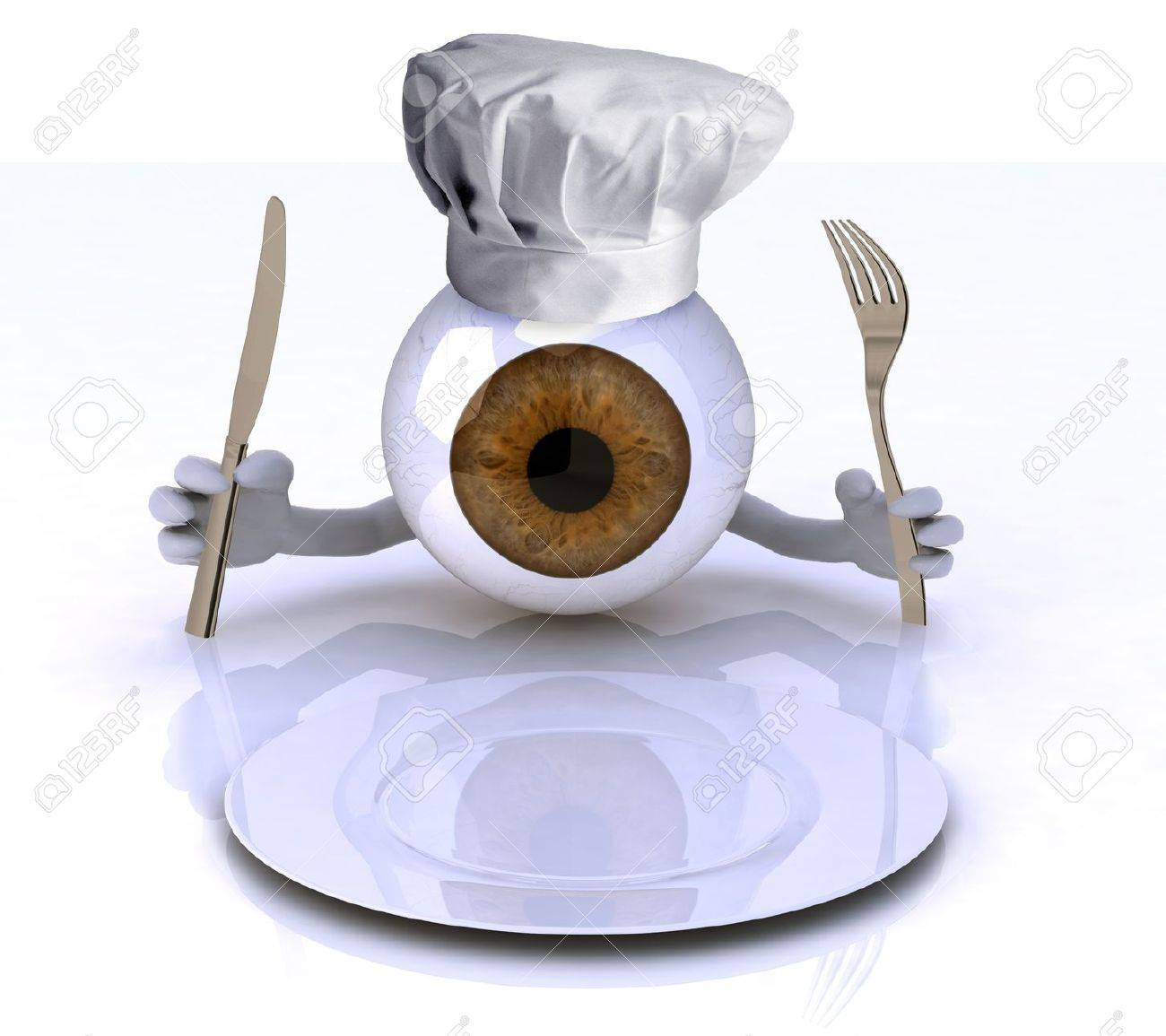 http://previews.123rf.com/images/fberti/fberti1212/fberti121200115/16903893-big-eye-with-hands-and-utensils-and-chef-hat-in-front-of-an-empty-plate-3d-illustration-Stock-Illustration.jpg