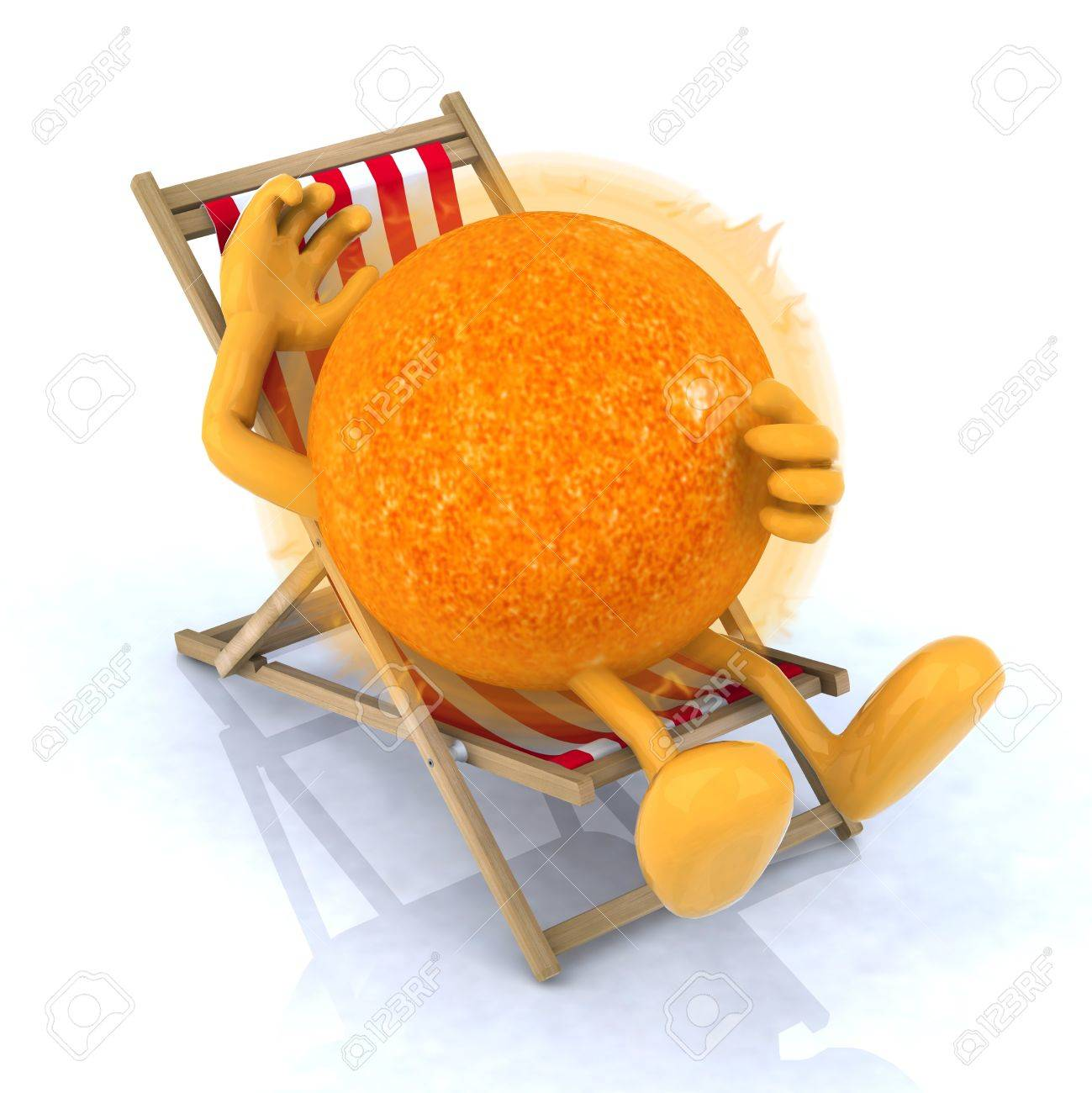 the sun with arms and legs lying on beach chair, 3d illustration Stock Photo - 16903895