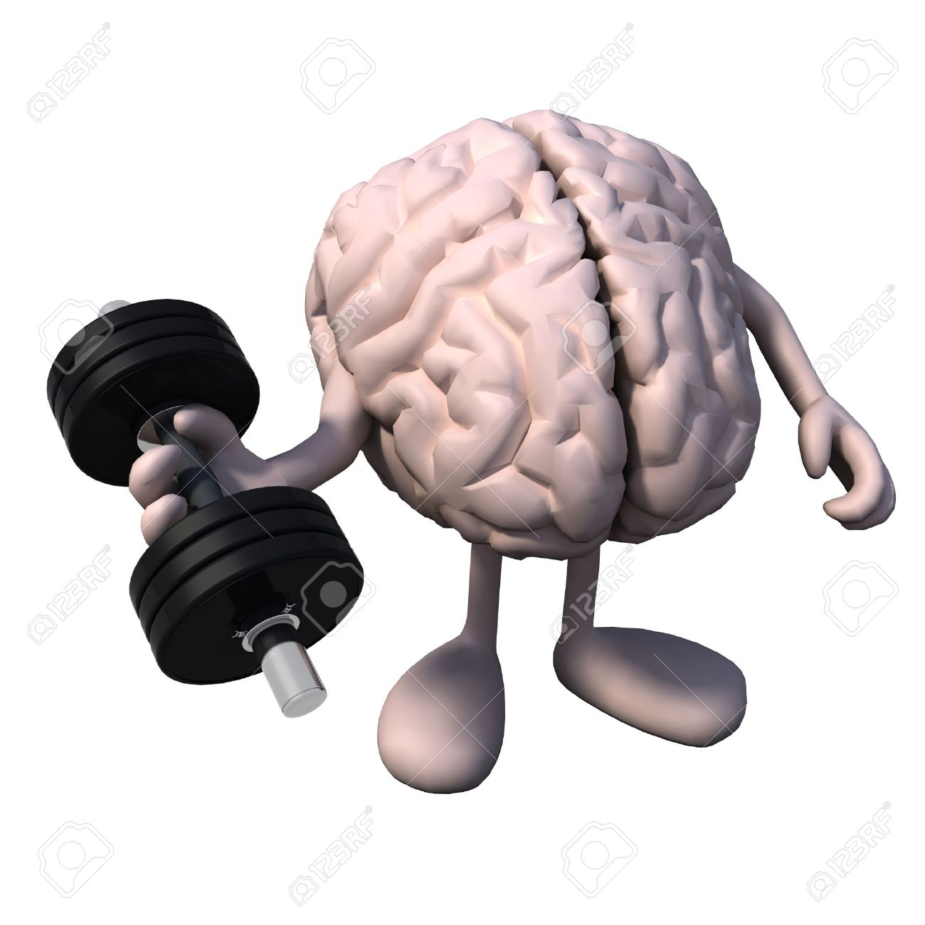human brain organ with arms and legs does weight training, 3d, Muscles