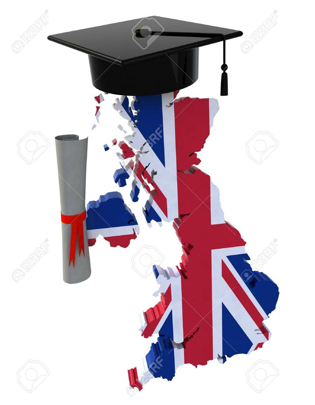 england maps with graduation cap and diploma 3d illustration