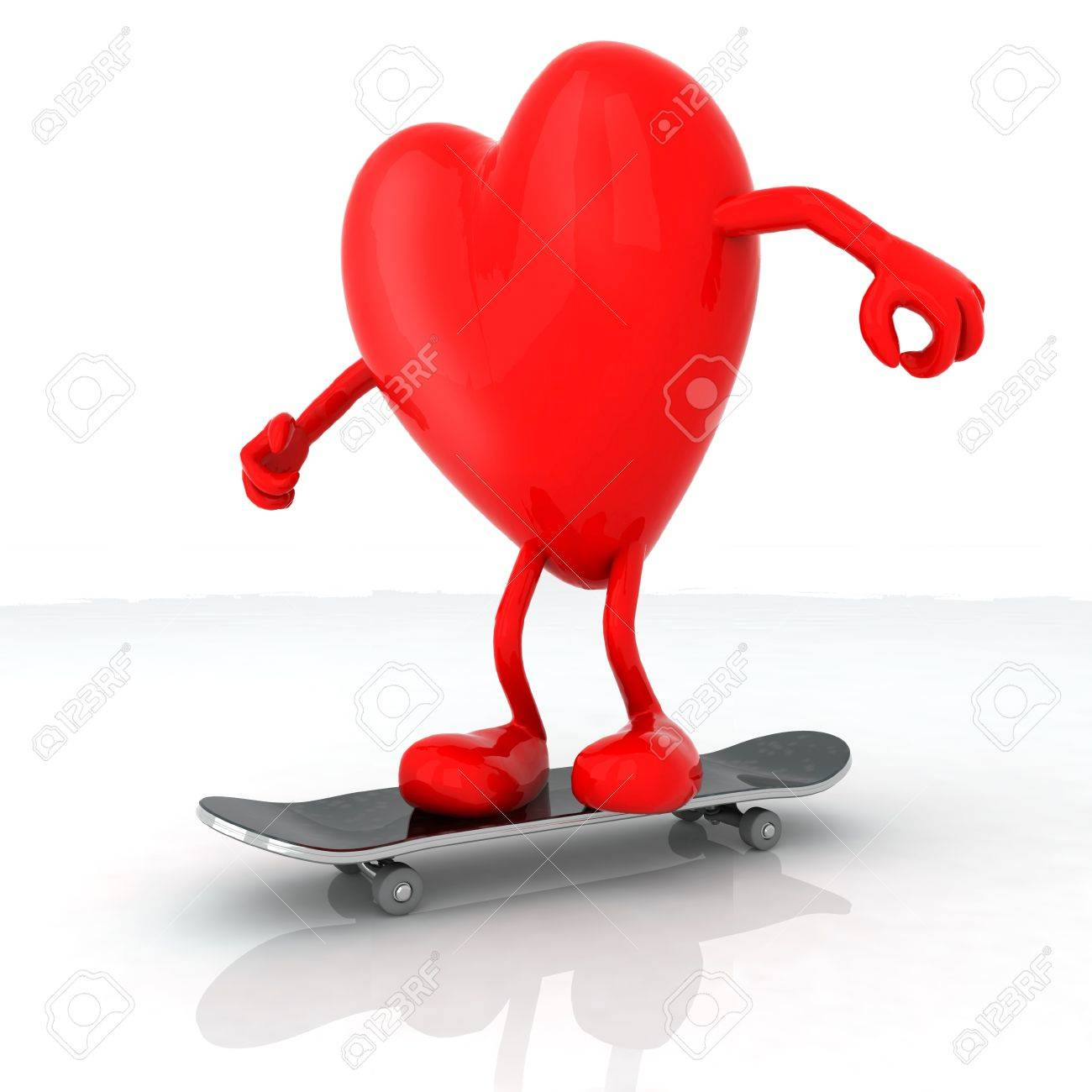 c94f4e86 heart with arms and legs on skateboard, 3d illustration Stock Illustration  - 21855060