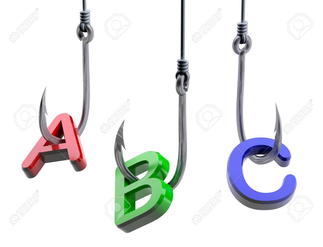 Letters A B C Schudden Op Een Vis Haken Geïsoleerde 3d