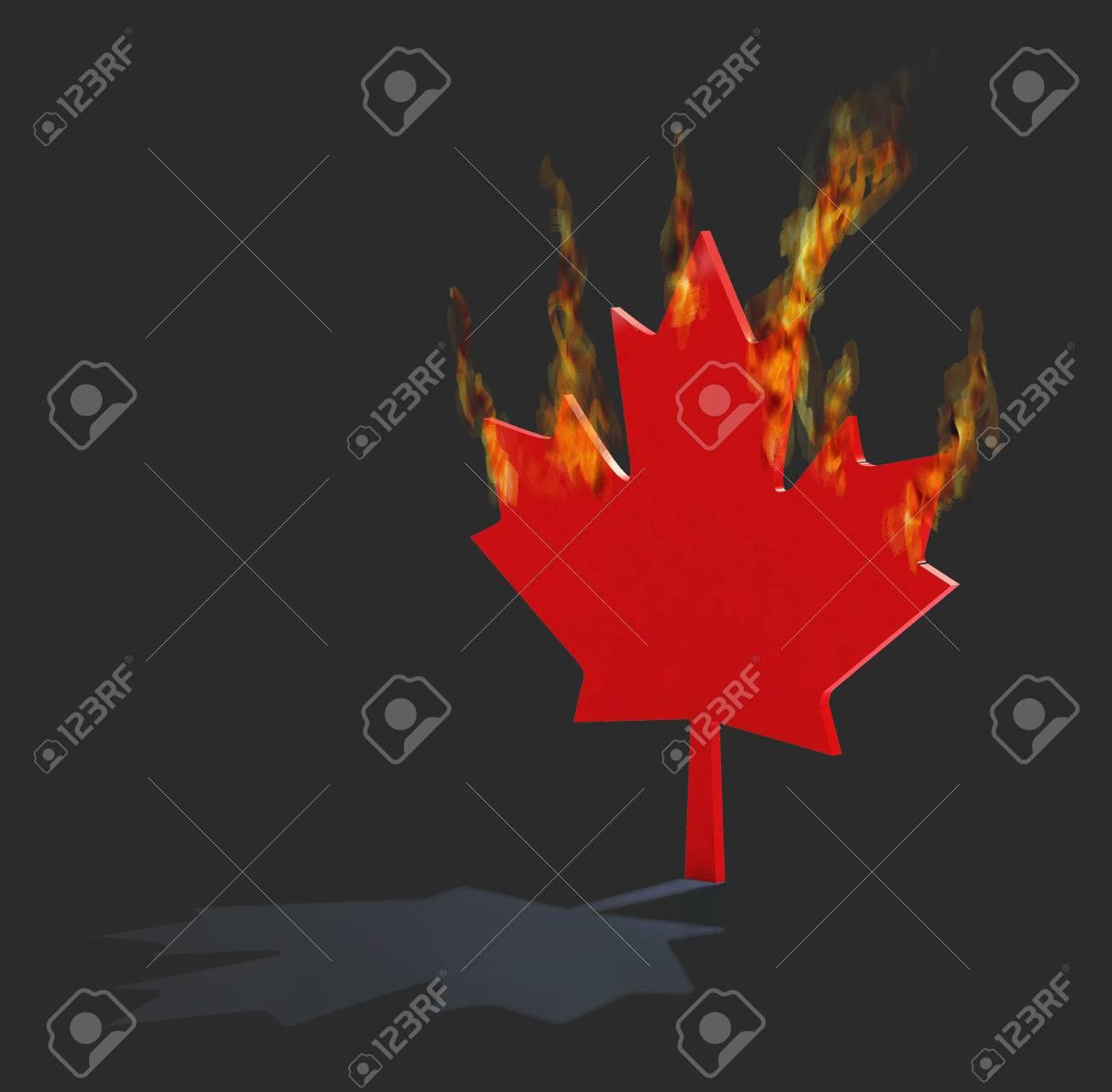 Maple Leaf Canadian Symbol Burning In Flame 3d Illustration Stock