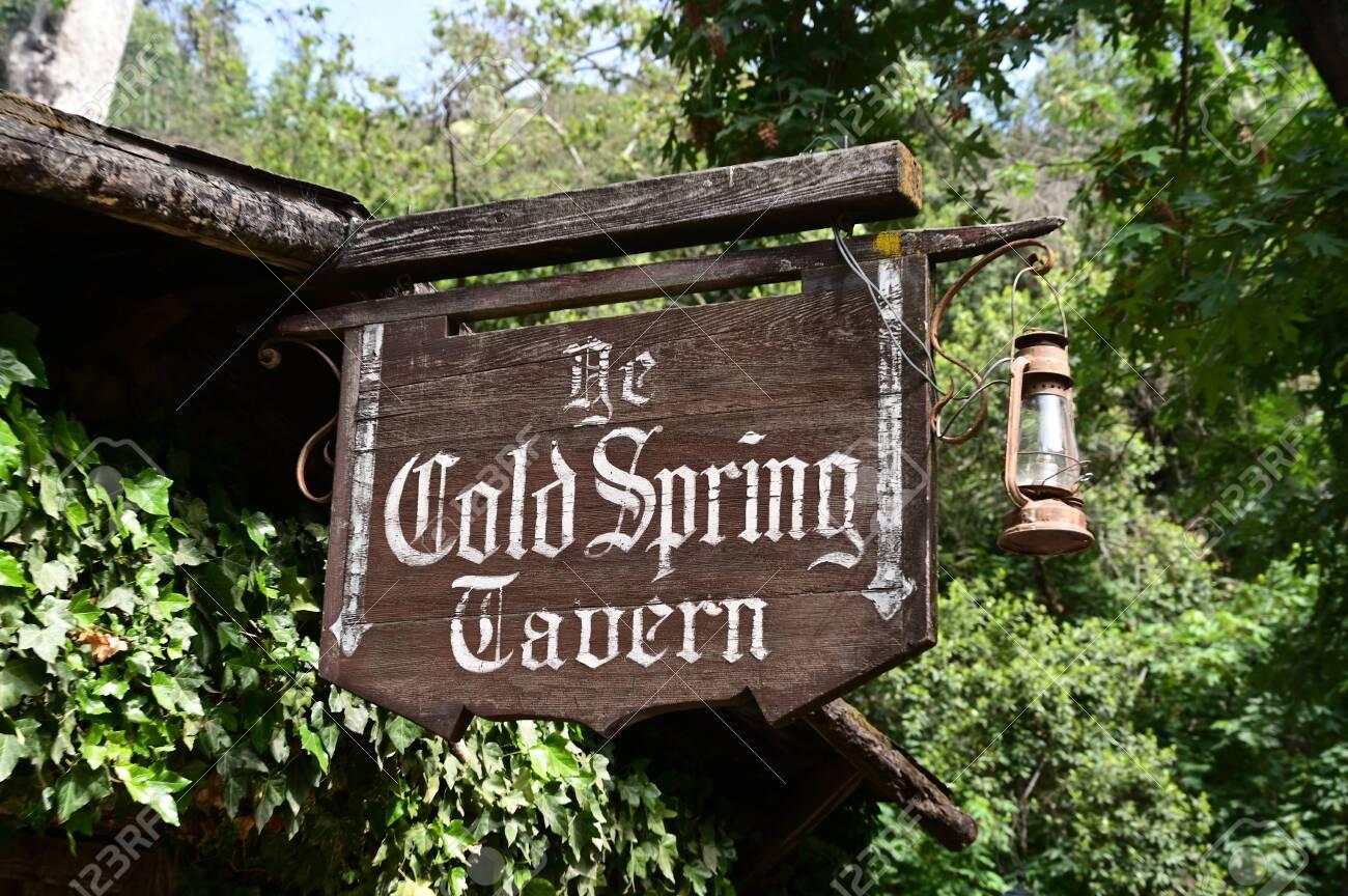 Santa Barbara, California - May 18, 2019 Historical Cold Spring Tavern sign on Stagecoach Road. - 137105969