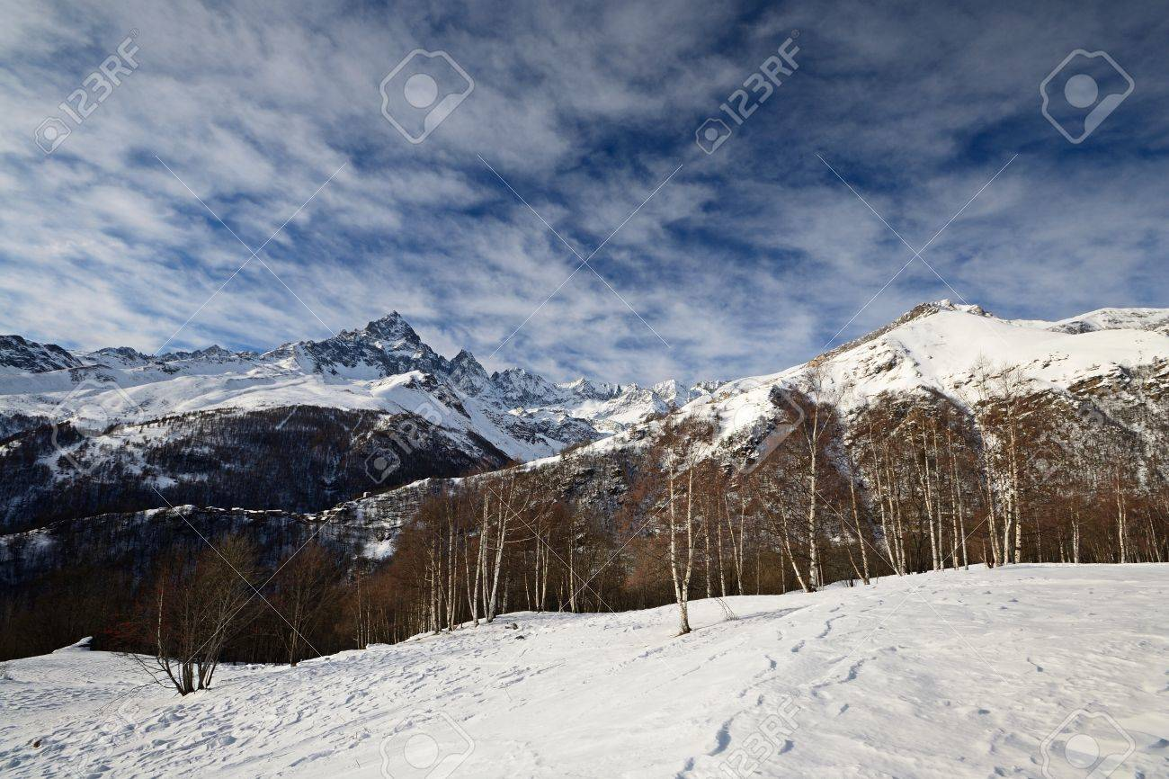 Wide angle winter mountainscape and superb frontal view on the majestic rocky king, M  Viso  3841 m , Po Valley, Piedmont Stock Photo - 16938201