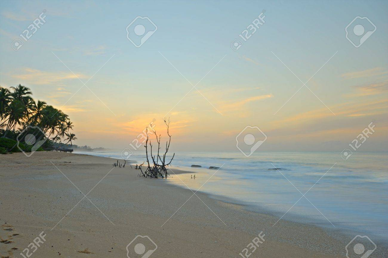 Wonderful sunset on Tangalla beach, Sri Lanka, blurred motion effects on waves Stock Photo - 17480148