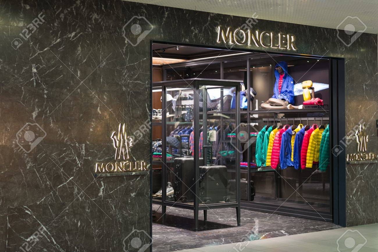 Rome, Italy - April 25, 2015: Side view of Moncler store at Fiumicino