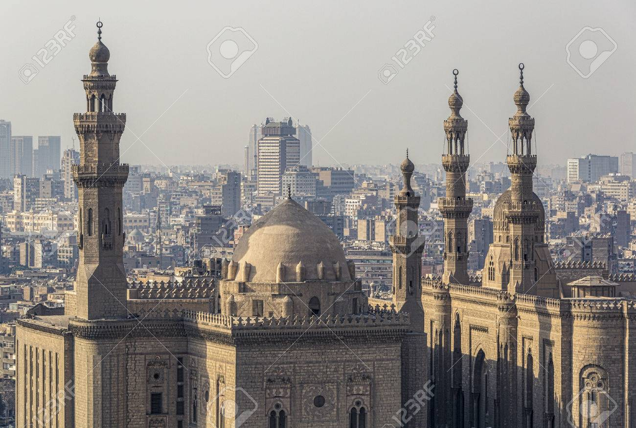 The Sultan Hassan Mosque, and on the right the Al Rifai Mosque in Cairo, Egypt. Stock Photo - 76036793