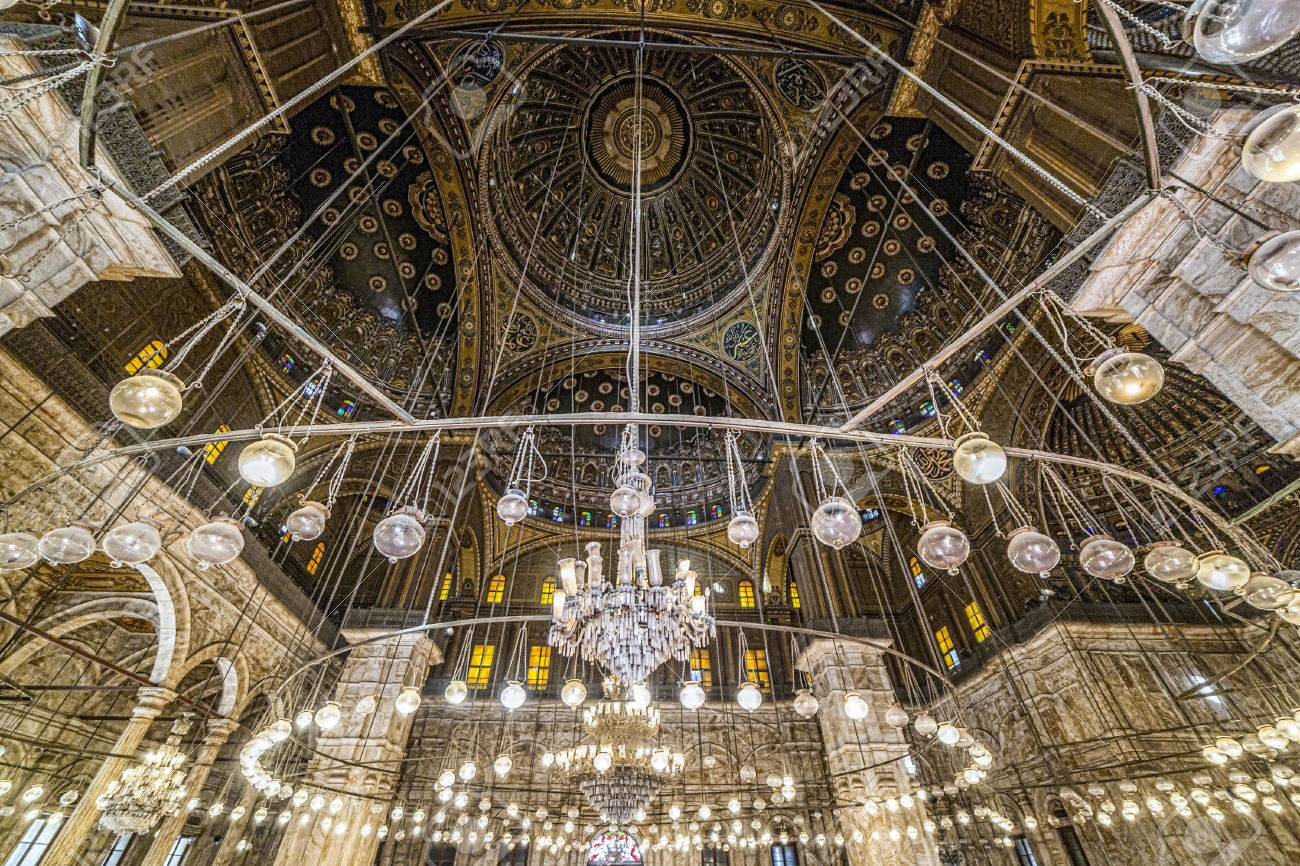 Cairo, Egypt - March 9, 2017: Interior of the Mohamed Ali mosque, located in the Saladin Citadel on the Mokkatam hill in Cairo. Stock Photo - 75774560