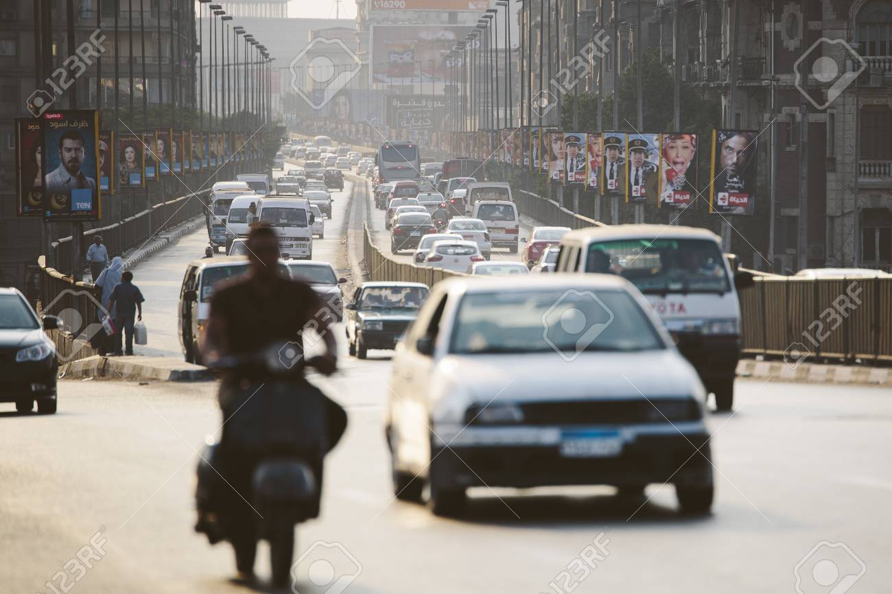 Cairo, Egypt - June 11, 2015: the 15th May bridge at rush hour, an overpass crossing the island of Zamalek in central Cairo. Stock Photo - 79118942