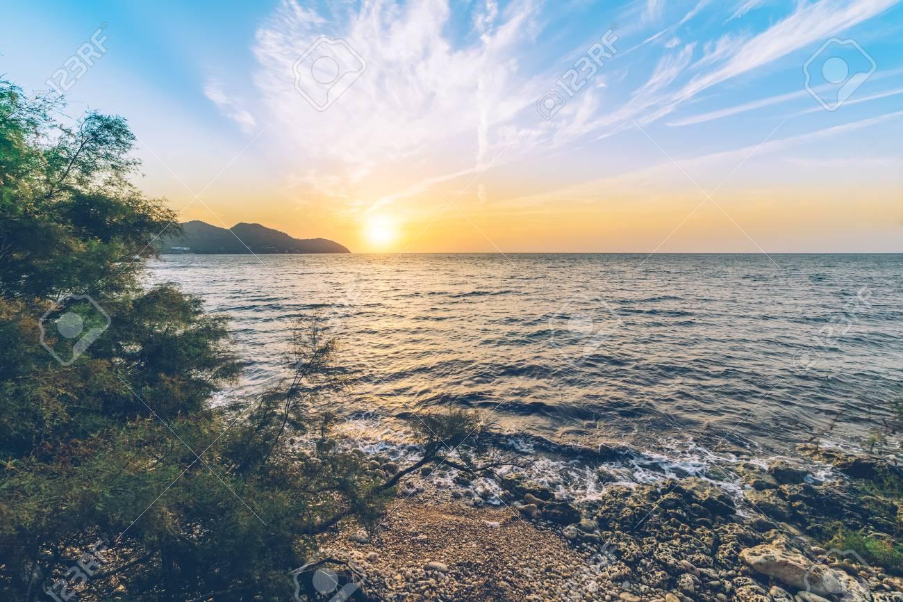 Sunrise over the mediterranean sea on the Spanish island of Mallorca. Stock Photo - 85213921