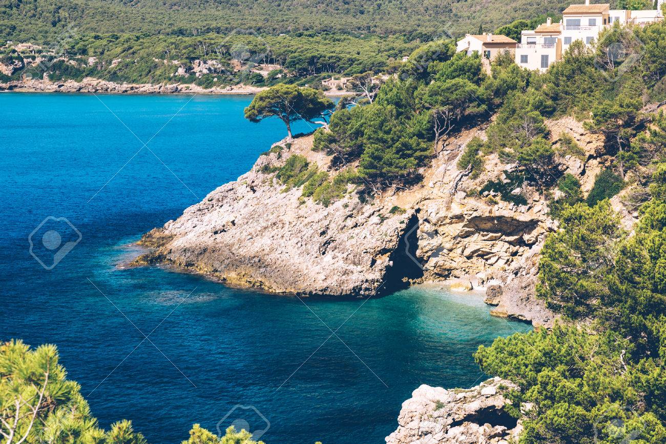The blue waters of the mediterranean sea near Canyamel on the balearic island of Mallorca. Stock Photo - 85255948