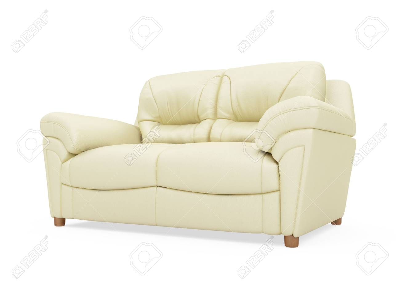 isolated beige sofa over white background Stock Photo - 5013678