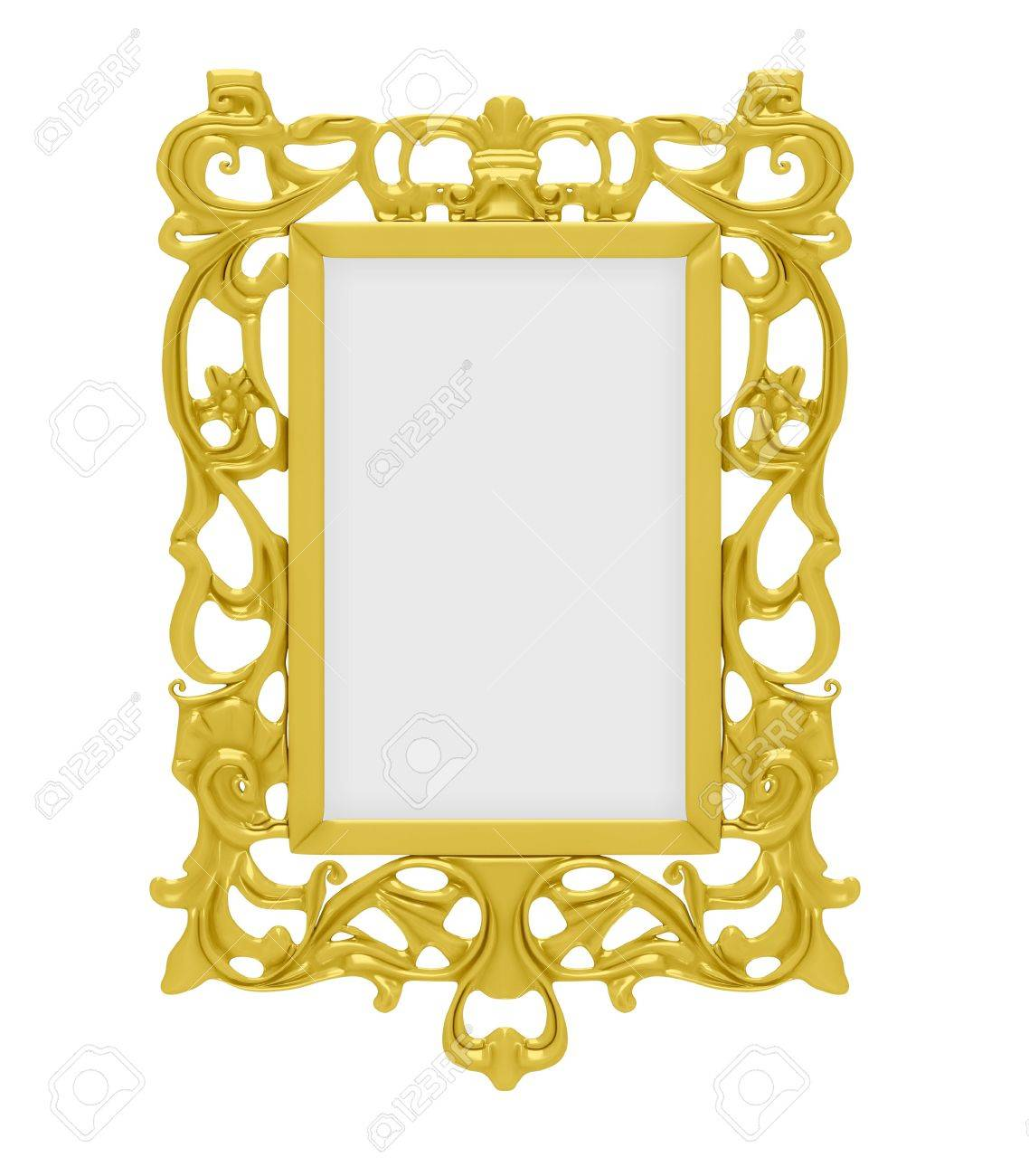 Isolated decorative golden frame over white background Stock Photo - 6592915