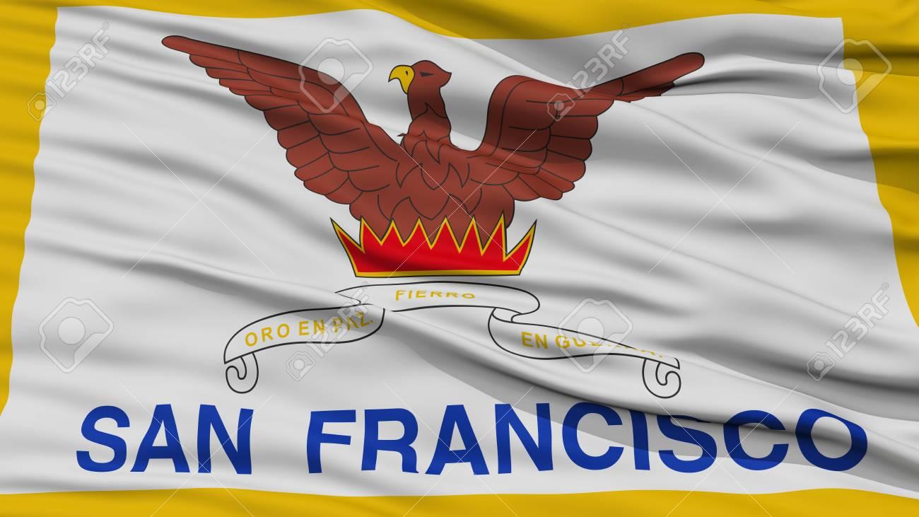 Gros Plan, De, San Francisco, Ville, Drapeau, Onduler, Dans, Les ...