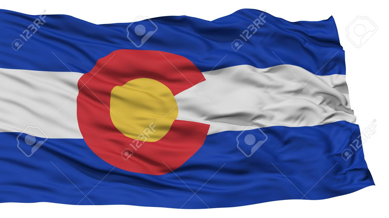 Isolated Colorado Flag USA State Waving On White Background High Resolution Stock Photo