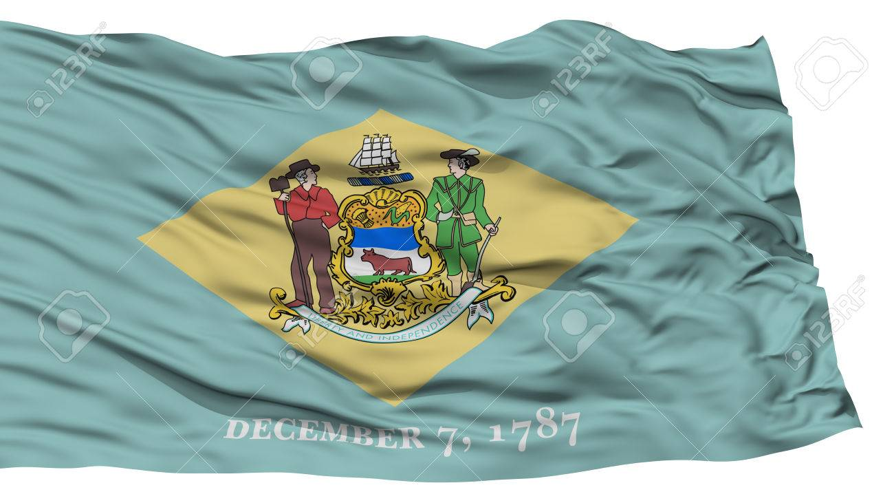 Isolated Delaware Flag USA State Waving On White Background High Resolution Stock Photo