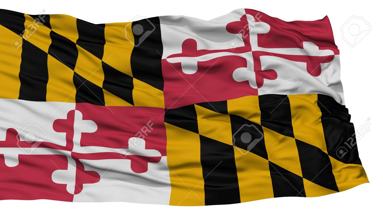 Isolated Maryland Flag USA State Waving On White Background High Resolution Stock Photo