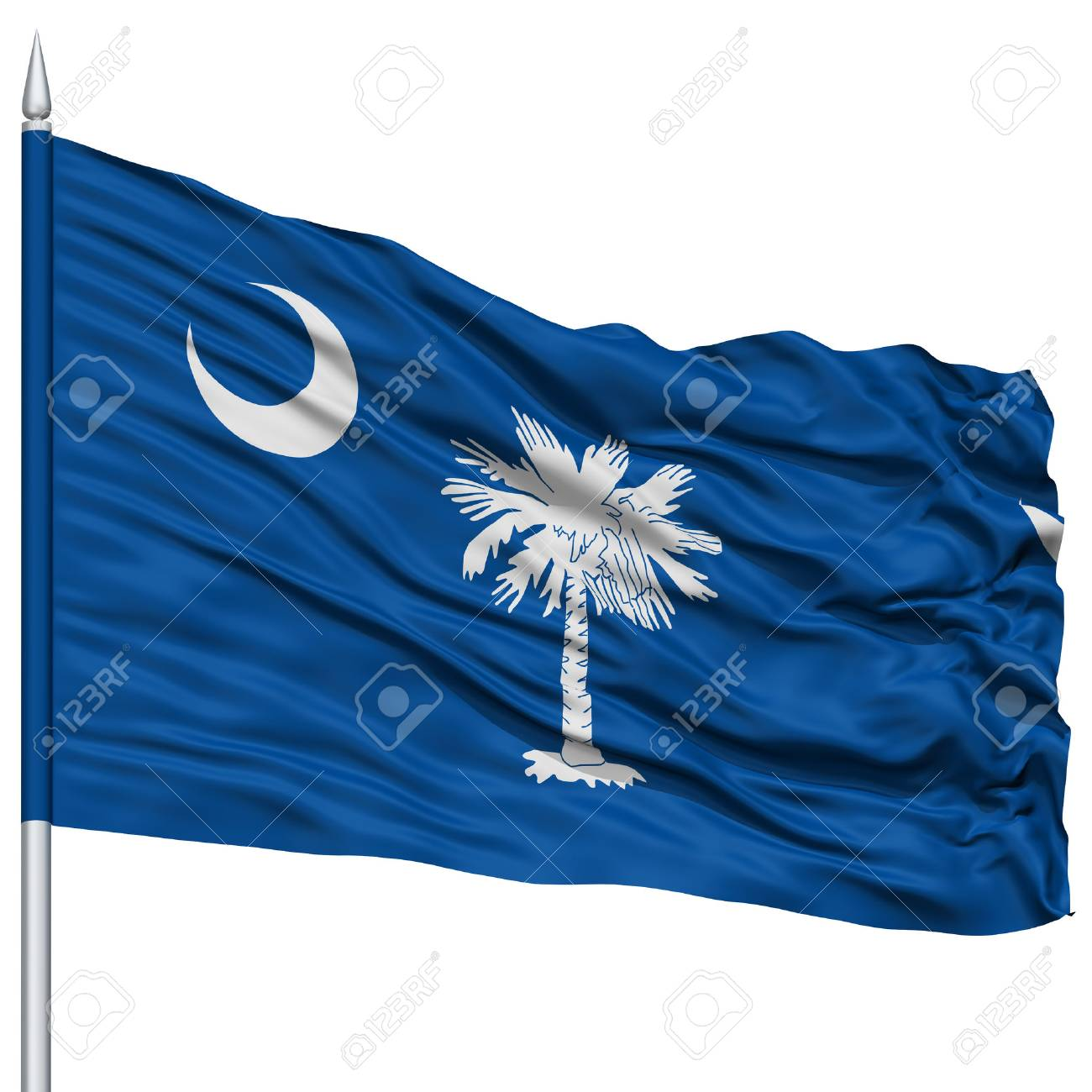 Isolated South Carolina Flag On Flagpole Usa State Flying In