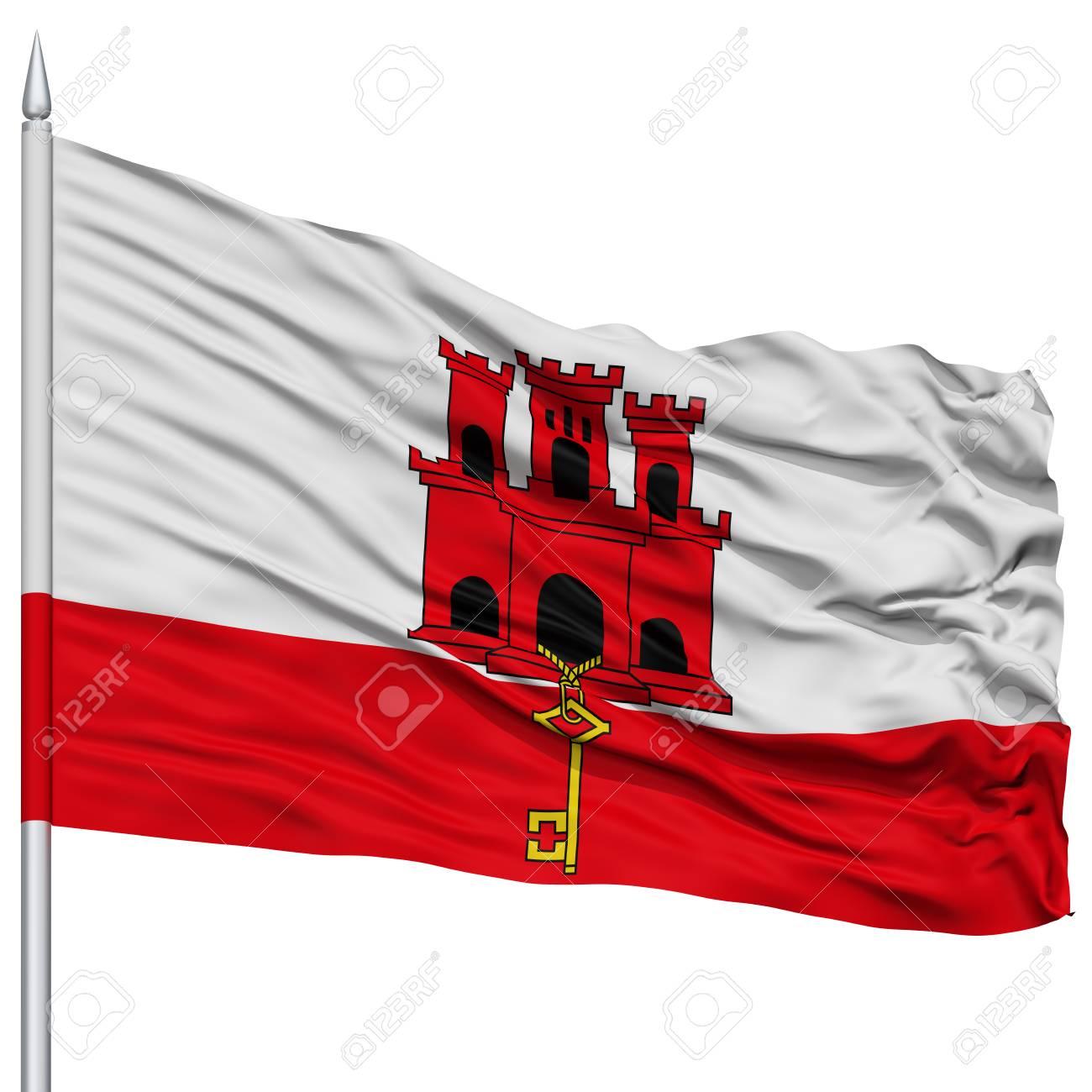 Immagini Stock Bandiera Di Gibilterra Sullasta Della Bandiera