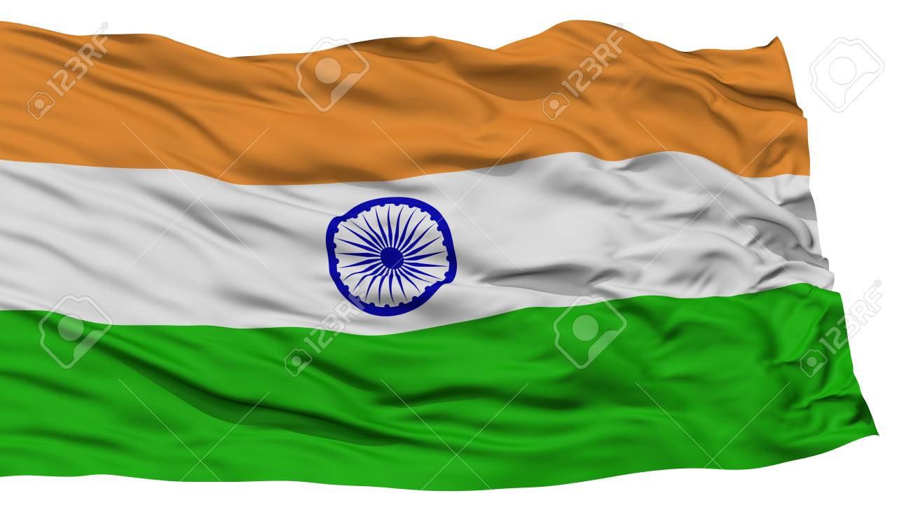 Isolated India Flag Waving On White Background High Resolution