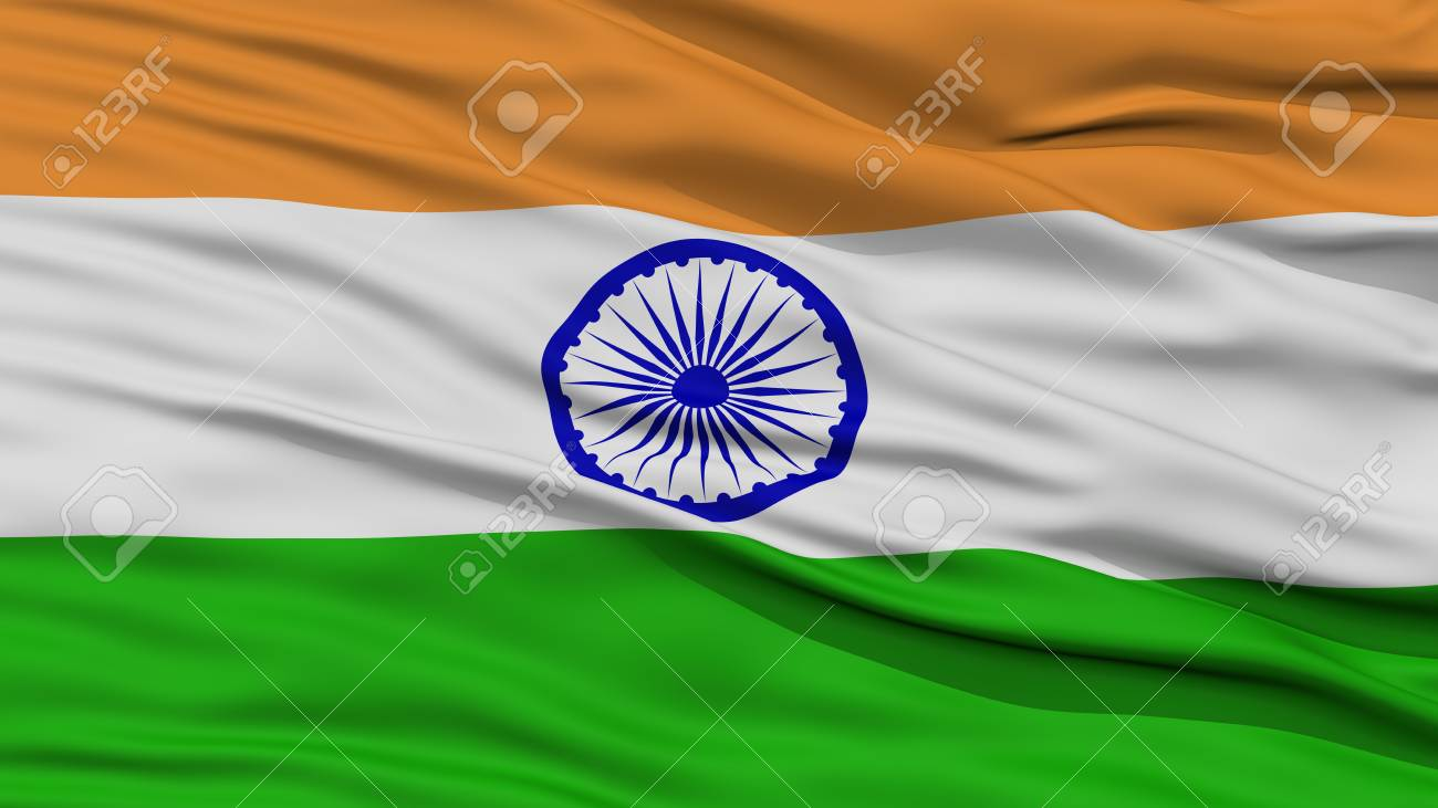 Closeup India Flag Waving In The Wind High Resolution Stock Photo