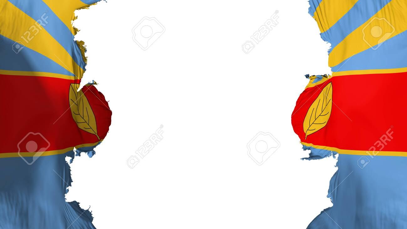 Blasted Harare, capital of Zimbabwe flag, against white background,