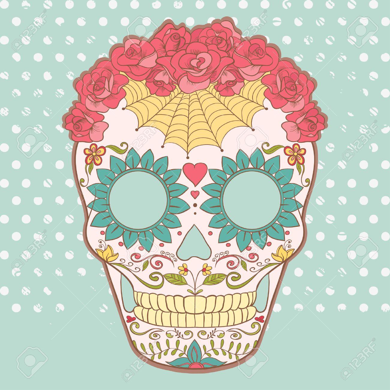 la calavera catrina Imagen del vector del cráneo del azúcar se puede utilizar para la