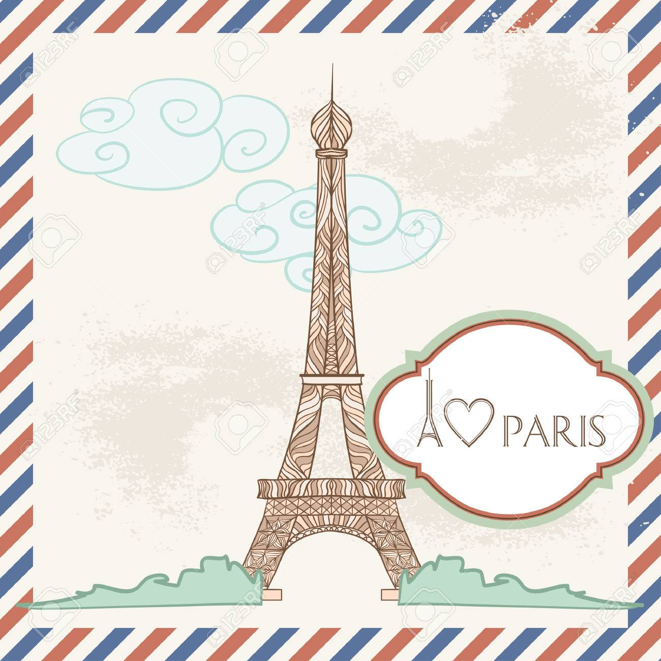 vector postcard with france image decorative eiffel tower and frame with text stock vector 24661312 - Eiffel Tower Picture Frame
