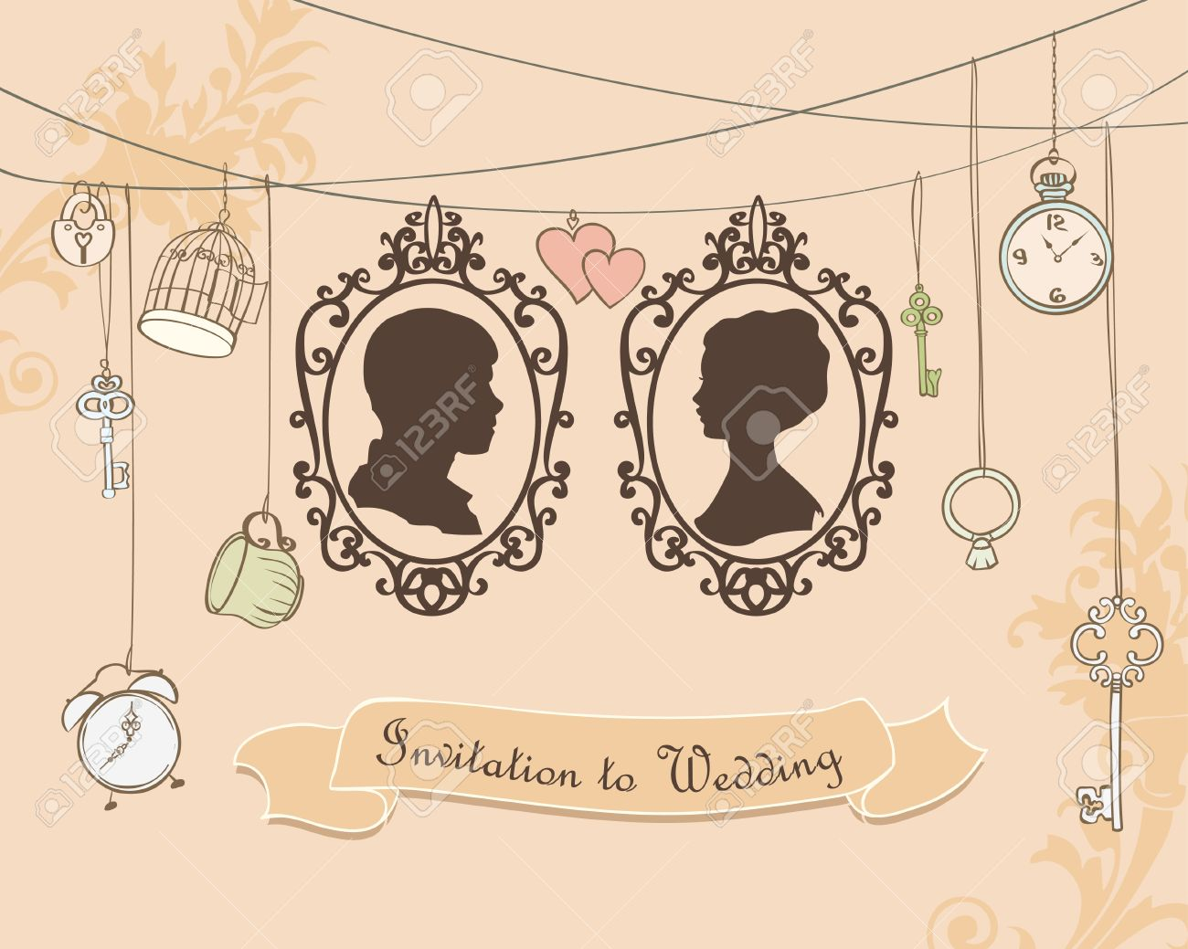 Vector Wedding Invitation Card Vintage Card With Silhouette – Married Invitation Card