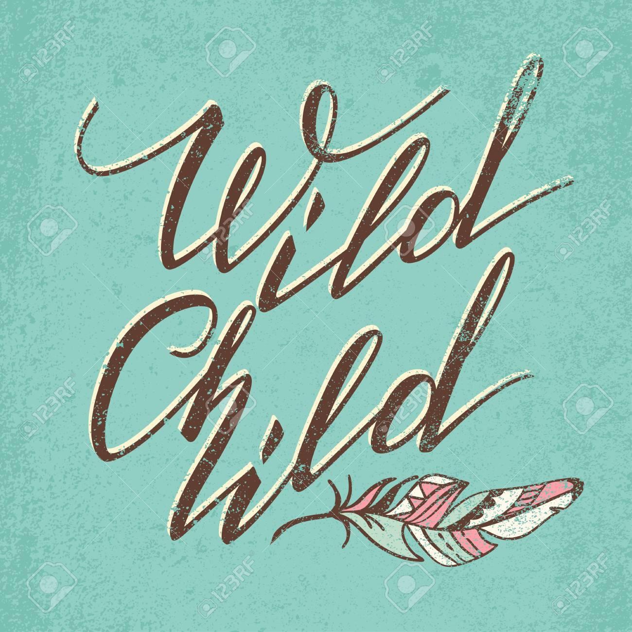 Foto de archivo vector letras wild child palabras de la caligrafía
