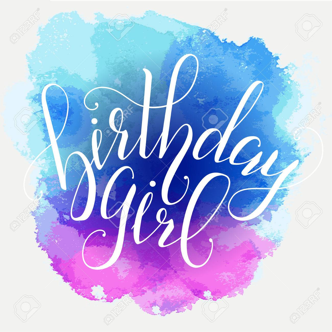 Vector Calligraphy Script Quote Birthday Girl. Greeting Card
