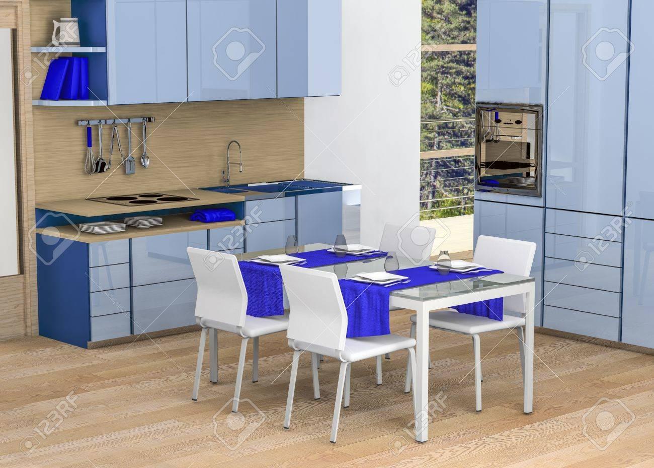 Cucina Moderna Blu.Cucina Moderna In Tonalita Di Blu