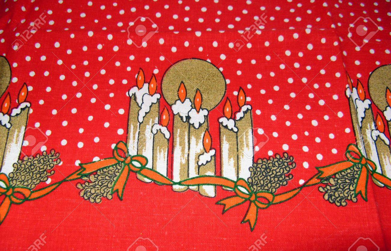Red Christmas Tablecloth With Candle S Design Stock Photo Picture