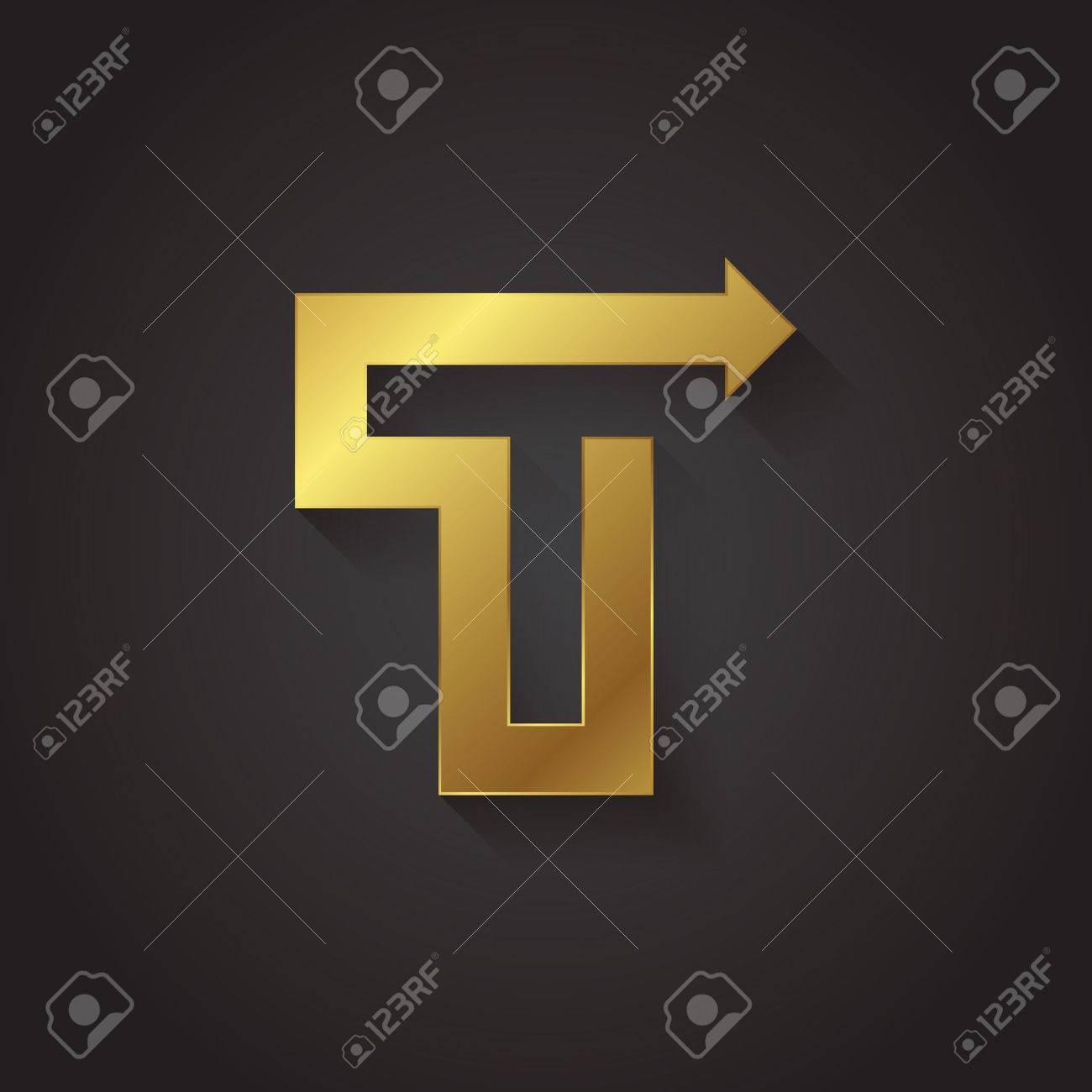 Vector Graphic Gold Arrow Alphabet Letter Symbol Letter T Royalty