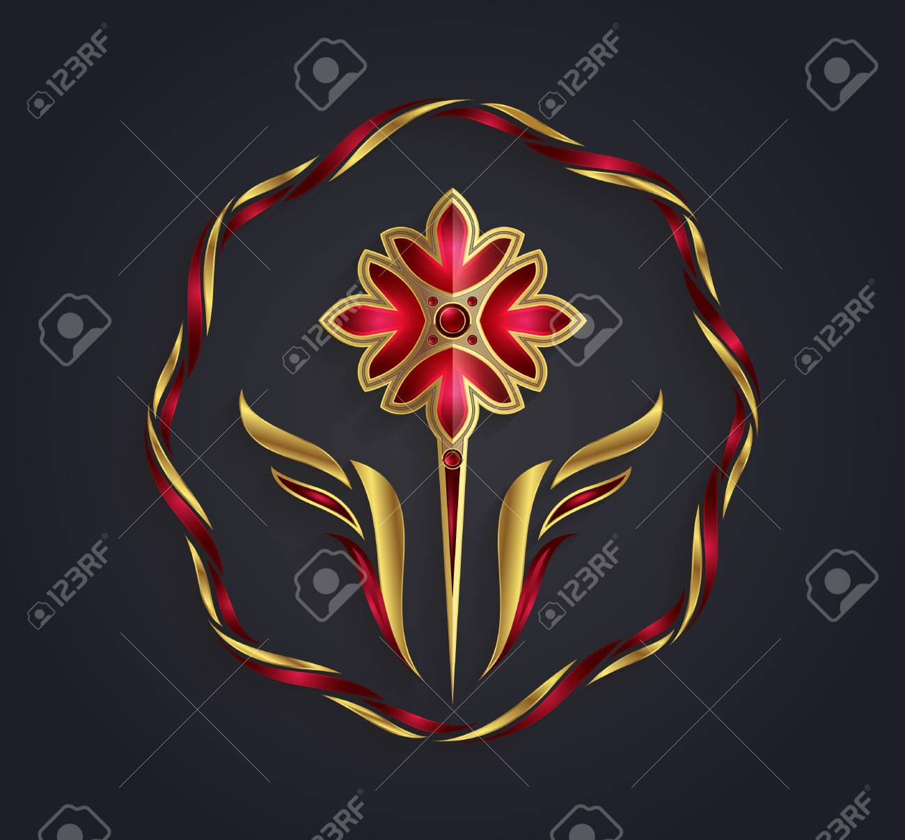 Vector Graphic Abstract Golden And Silver Flower Symbol With