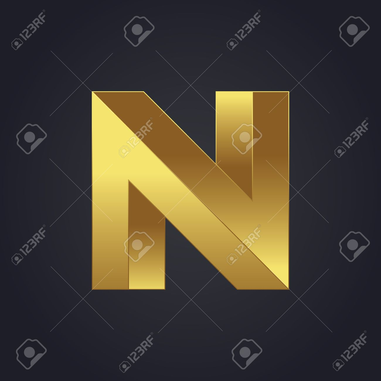 Beautiful Vector Graphic Gold Alphabet Letter N Symbol Royalty Free